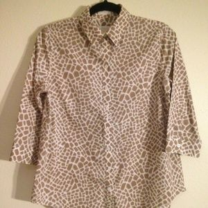 CHICO'S Top Brick Print Shirt Bust 36″ Taupe White